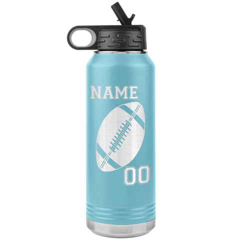 32oz. Water Bottle Tumblers Personalized Football Water Bottles light blue