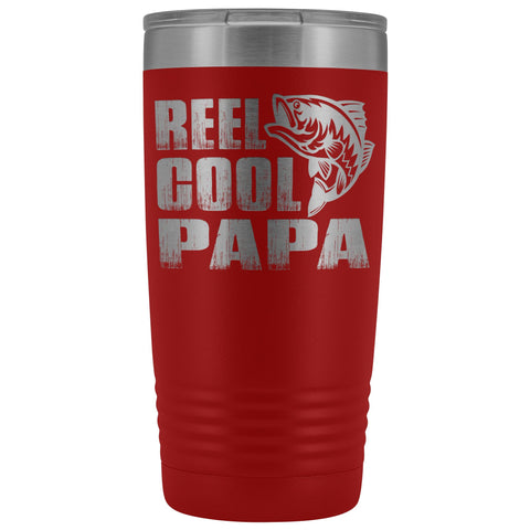 Reel Cool Papa Fishing Papa 20oz Tumbler design 2 red