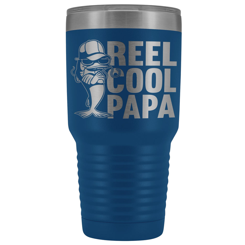 Reel Cool Papa Fishing Papa Tumbler blue