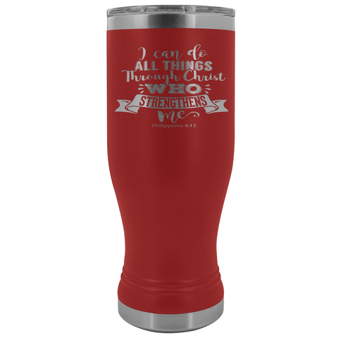 Image of I Can Do All Things Through Christ 20oz. BOHO Tumbler Christian Travel Coffee Mugs red