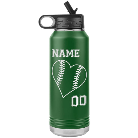 32oz Tumbler Softball Water Bottle Or Baseball Water Bottle green