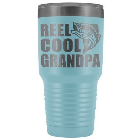 Image of Reel Cool Grandpa 30oz. Tumblers Grandpa Fishing Travel Mug light blue