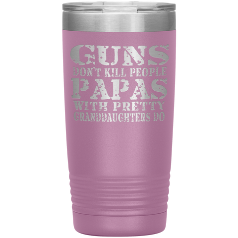 Image of Guns Don't Kill People Funny Papa 20oz Tumbler Travel Cup light purple