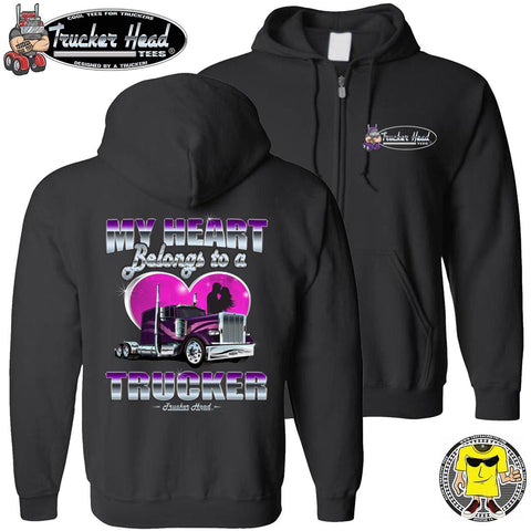 Image of My Heart Belongs To A Trucker Truckers Wife Hoodie zip up black