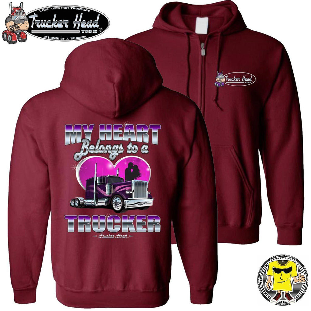 My Heart Belongs To A Trucker Truckers Wife Hoodie zip up red