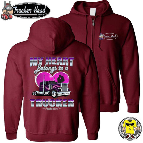 Image of My Heart Belongs To A Trucker Truckers Wife Hoodie zip up red