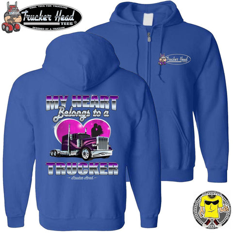 Image of My Heart Belongs To A Trucker Truckers Wife Hoodie zip up royal