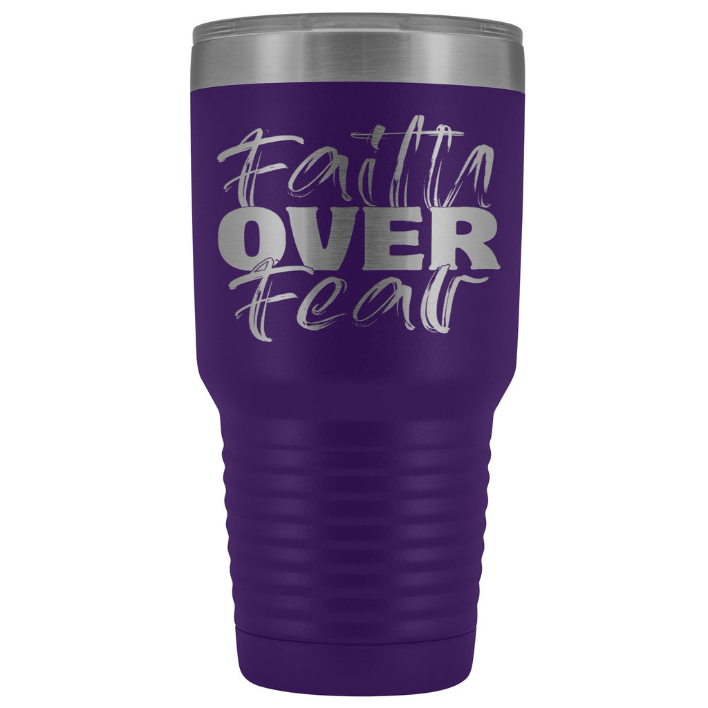 Faith Over Fear Christian Tumblers purple
