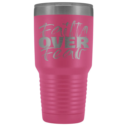 Image of Faith Over Fear Christian Tumblers pink