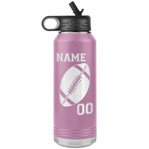 Image of 32oz. Water Bottle Tumblers Personalized Football Water Bottles light purple