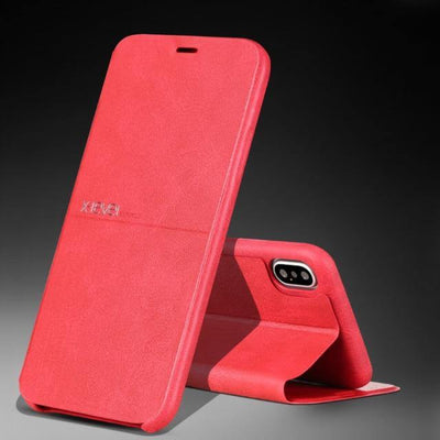 Ultra Thin Leather Flip Case For iPhone - MaviGadget