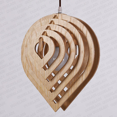 Wooden Water Drop Shaped Pendant Light - MaviGadget