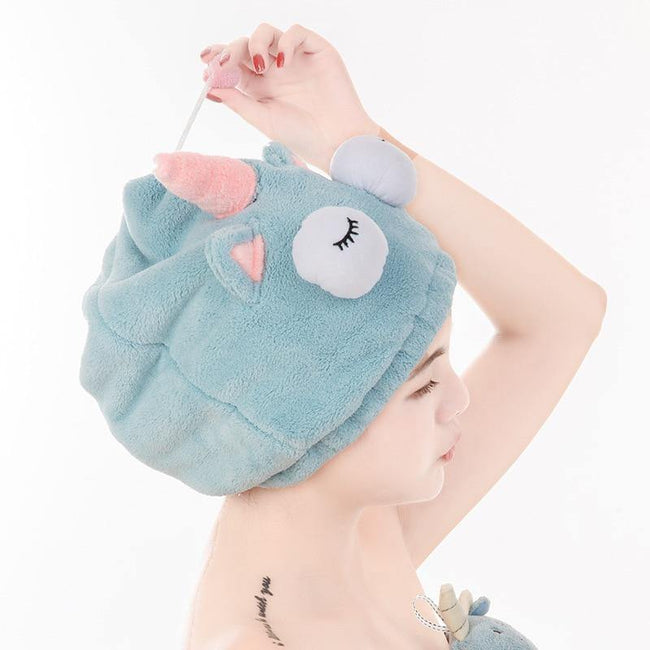 Cute Bath Towel Hair Dryer Hat - MaviGadget