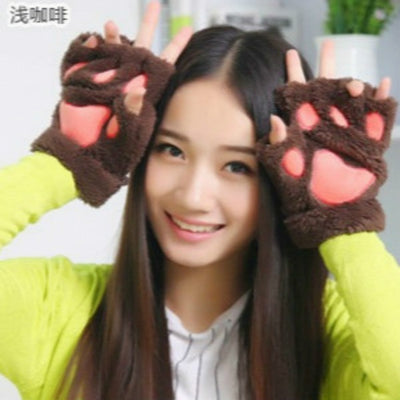 Ladies Winter Fingerless Bear Paw Gloves - MaviGadget
