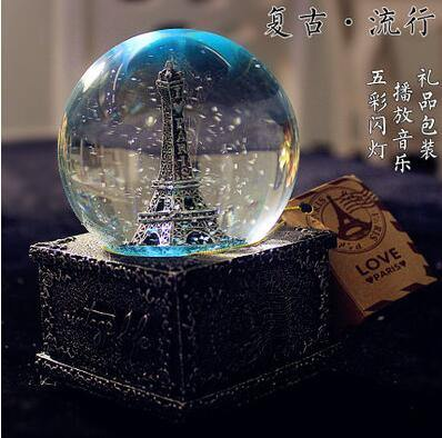 Creative LED Crystal Ball Music Box Glowing light Night Decor - MaviGadget