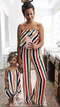 Strapless Rainbow Striped Mom-Daughter Matching Clothes - MaviGadget