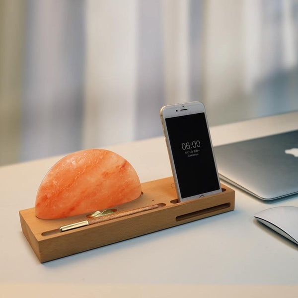 Sunrise Scene Himalayan Salt Led Lamp with Wireless Charger