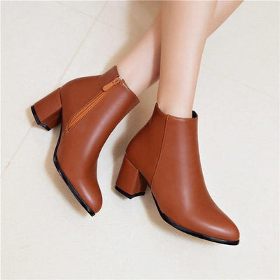 Comfortable Zipper Thick High Heels Ankle Boots for Spring - MaviGadget