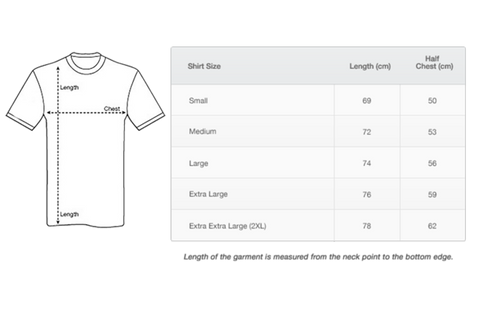Sizing Guide for 'In Eddie We Trust' men's rugby t-shirt