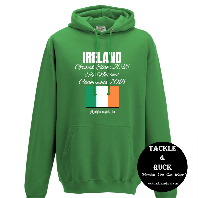 Men's Rugby Hoodie - Ireland Grand Slam 2018 Six Nations Winners 2018