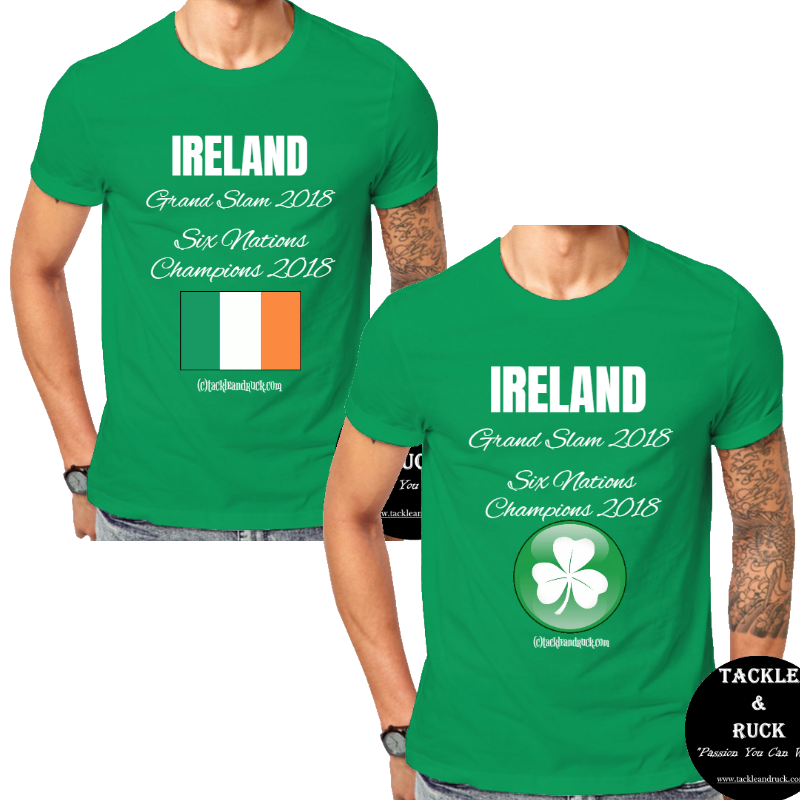 100/% Ireland Six Nations 2018 GRAND SLAM WINNERS Mens Rugby T-Shirt