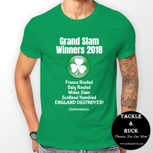 Men's Rugby T Shirt - Ireland Grand Slam Winners 2018 England Destroyed
