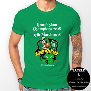 Men's Rugby T Shirt - Ireland Grand Slam Winners Shield 17th March 2018