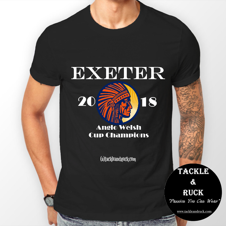 Men's Rugby T Shirt - Exeter Chiefs 2018 Anglo Welsh Cup Winners