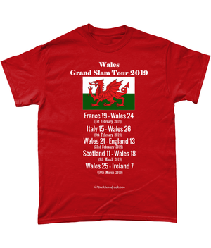 Men's Rugby T Shirt - Wales Grand Slam Tour 2019
