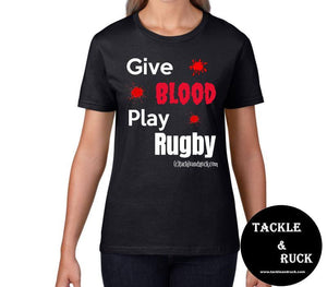 Women's T-Shirt - Give Blood Play Rugby