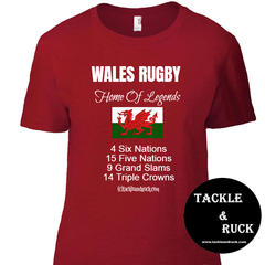 Womens Wales Rugby T Shirt - Wales Rugby Home Of Legends
