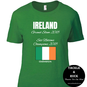 Women's Rugby T Shirt - Ireland Grand Slam 2018 Six Nations Winners 2018