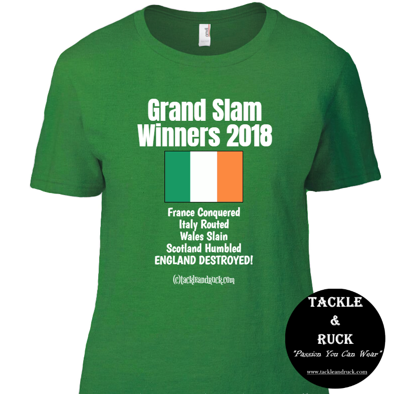 Women's Rugby T Shirt - Ireland Grand Slam Winners 2018 England Destroyed
