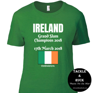 Women's Rugby T Shirt - Ireland Grand Slam Winners 17th March 2018