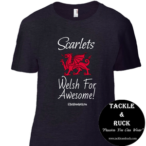 Women's Rugby T Shirt - Scarlets - Welsh For Awesome