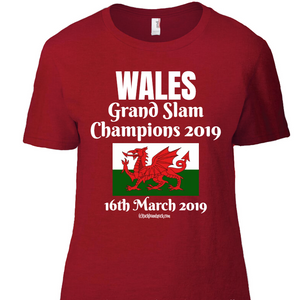 Wales Women's T-Shirt - Grand Slam Winners 16th March 2019
