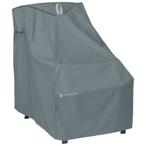 Classic-Accessories-Storigami-Water-Resistant-26-Inch-Easy-Fold-Patio-High-Back-Chair-Cover-Monument-Grey