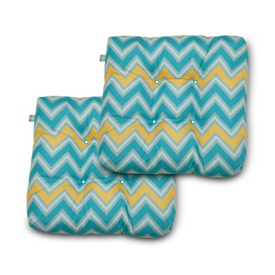 Water-Resistant 19 inch x 19 inch x 5 Inch Indoor Outdoor Seat Cushions, Real Teal Chevron, 2-Pack