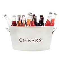 Load image into Gallery viewer, Cheers Galvanized Metal Drink Tub by Twine