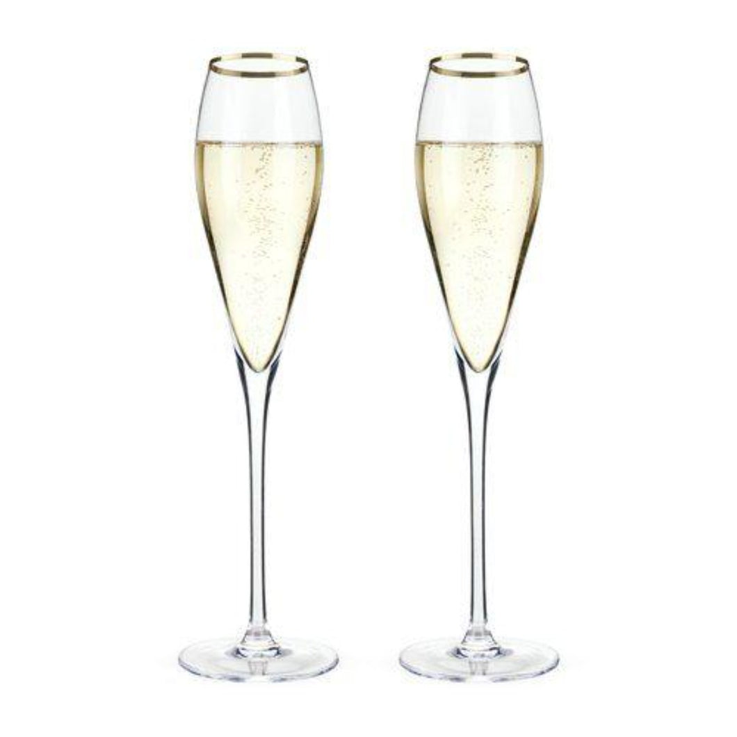 Gold Rimmed Crystal Champagne Flutes - Backyard Home Oasis