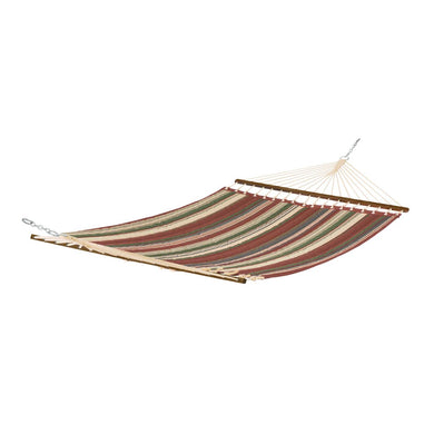 Montlake FadeSafe Multi-Stripe Quilted Hammock - Henna Red - Backyard Home Oasis
