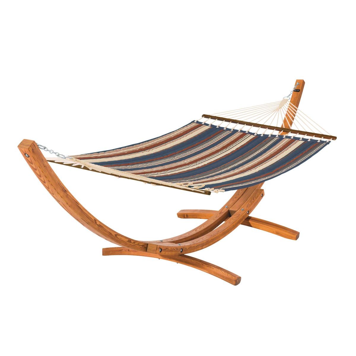 Montlake Fadesafe Multi-Stripe Quilted Hammock with Wood Stand - Indigo Blue