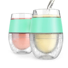Load image into Gallery viewer, Wine Freeze Cooling Cups - Set of 2 Mint