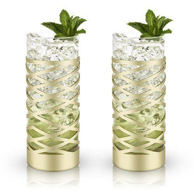 Gold & Crystal Patterned Highball Glasses - Backyard Home Oasis