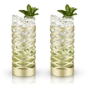 Gold & Crystal Highball Glasses