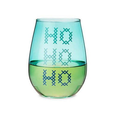 HO HO HO Stemless Wine Glass - Backyard Home Oasis