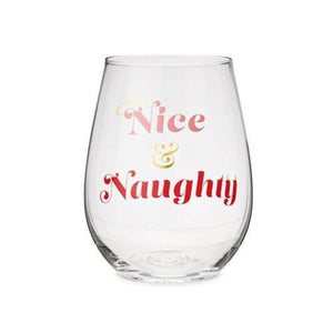 Nice And Naughty Stemless Wine Glass - Backyard Home Oasis