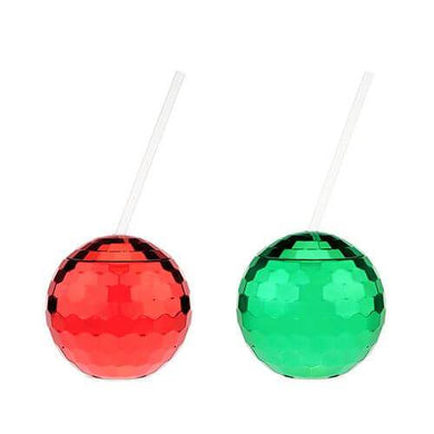 Red and Green Disco Ball Drink Tumblers - Backyard Home Oasis