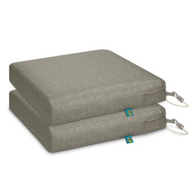 Weekend Water-Resistant 17 inch x 17 inch x 3 Inch Outdoor Dining Seat Cushion, Moon Rock, 2-Pack