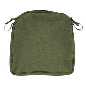 Classic Accessories Montlake Water Resistant 18 x 18 x 2 Inch Patio Seat Cushion Slip Cover Heather Fern Green